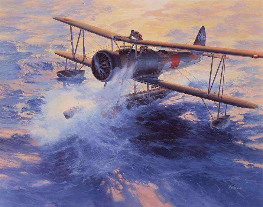 和川内号(森三飞曹)的两架舰载水上飞机冒着大风起飞