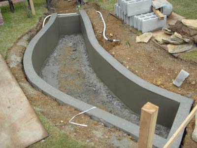 Miniature railroad in garden for Concrete block pond construction