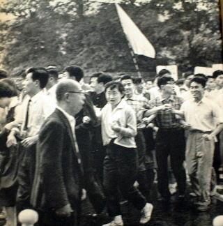 ★1960年6月15日7:00Pm・・南通用門西側には、東大本郷の学生がスクラムを組み、先頭から10数列目に薄クリ−ム色のカ −ディガンに紺のスラックスの樺美智子(22)がいた。