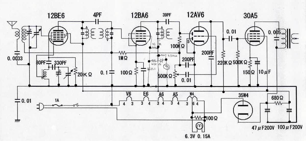 6-3 mT管トランスレス5球スーパー受信機の組み立て