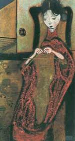 編み物をする女