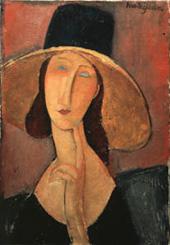 大きな帽子を被ったジャンヌ・エビュテルヌ