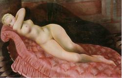 赤い長椅子の裸婦